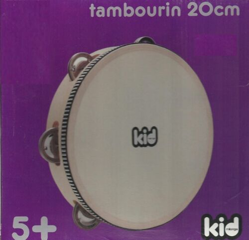 Kid Tambourin rond naturel 1 rangée cymbalettes peau naturelle 5 ans /& plus