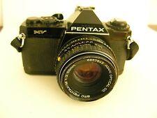 ASAHI Pentax MV SLR Camera + Lens ASAHI Pentax BLACK RARE Works Vintage
