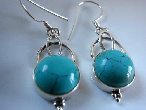 Blue Turquoise Round 925 Sterling Silver Earrings Corona Sun Jewelry