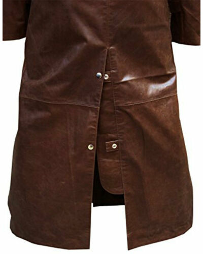 Mens RIDING COAT Brown Leather DUSTER HUNTING STEAMPUNK VAN HELSING TRENCH