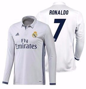 best service 14c62 8d27f Details about ADIDAS CRISTIANO RONALDO REAL MADRID LONG SLEEVE HOME JERSEY  2016/17.
