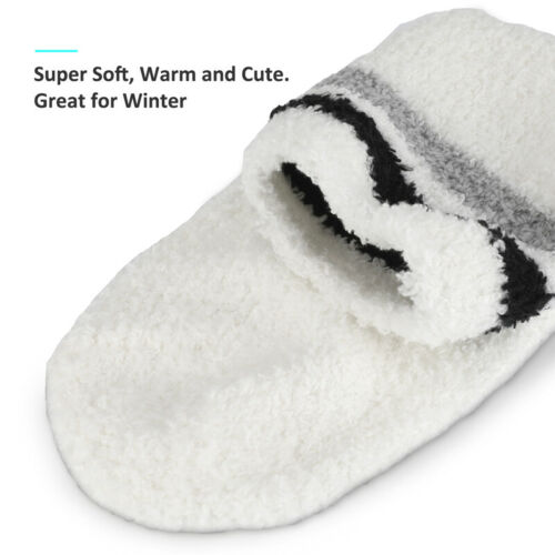 Details about  /3//6Pairs Womens Soft Cozy Fuzzy Winter Warm Striped Slipper Crew Socks Size 6-11