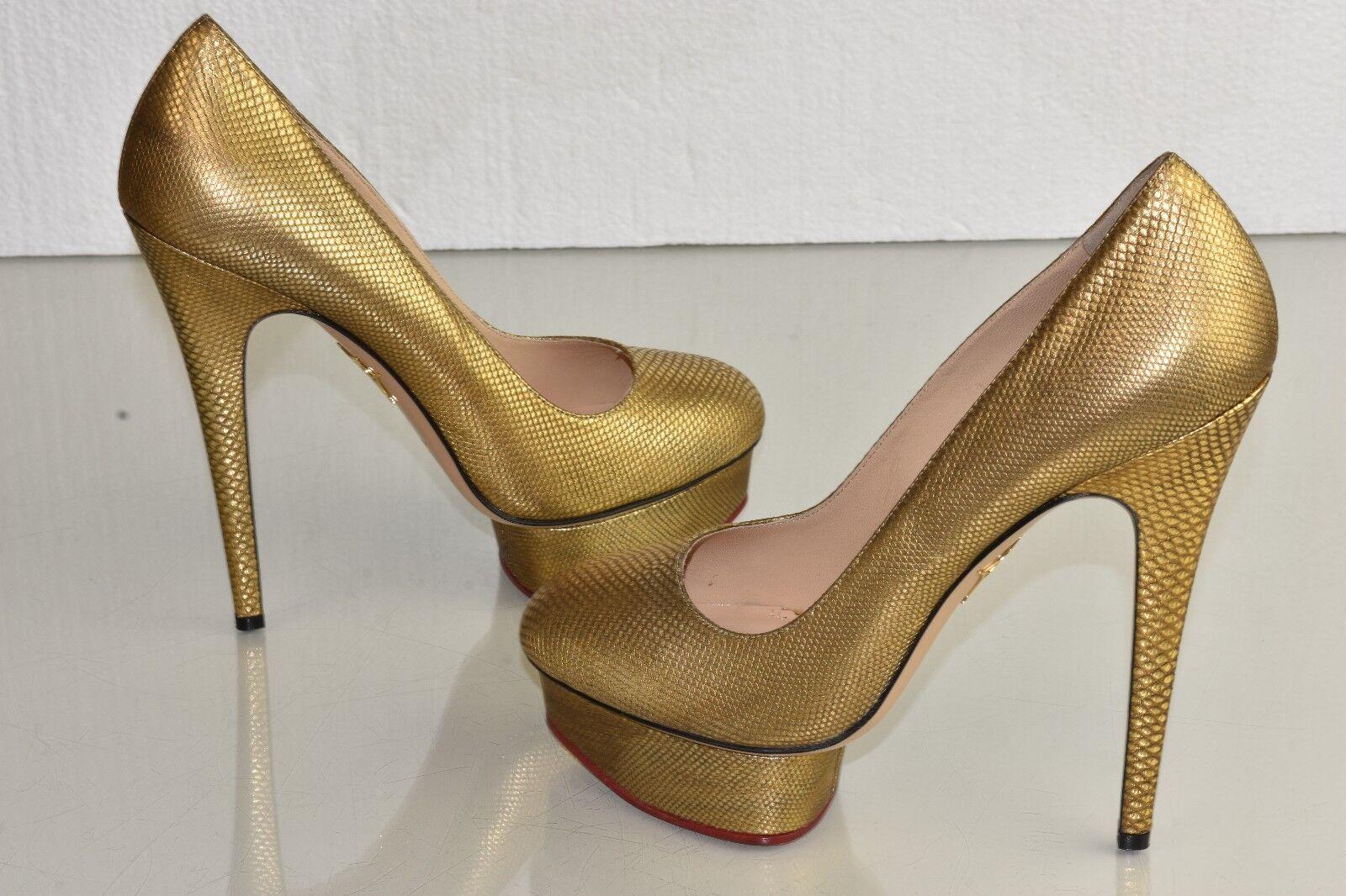 Neu Charlotte Charlotte Charlotte Olympia Puppe Exotischer Karung Plateau Gold Pumps Schuhe 41 1f28cd