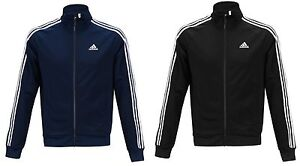 Adidas Men Essential 3S Jackets Jersey Track Top Running Black Navy Jacket GYM