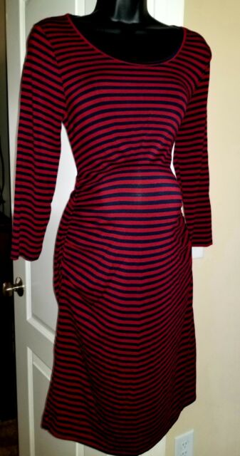 Liz Lange Maternity Burgundy Navy Ruched Striped T Shirt Dress Medium M e79b8c9e4