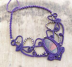 Macrame Necklace Pendant Jewelry Lace Agate Cabochon Stone Handmade Bohemian