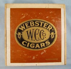 Webster-WC-Co-Cigars-Golden-Wedding-Vintage-Wooden-Cigar-Box-Flor-Fina-O-AS-IS