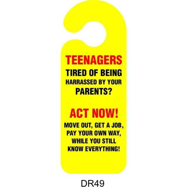 Teenagers Door Handle Hanging Sign