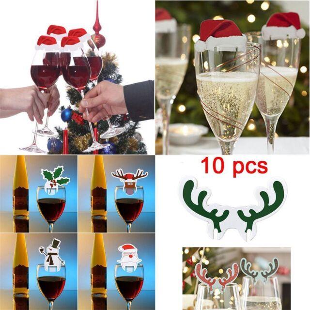 10pcs//set Christmas Decorations Hats 10pcs//lot Champagne Glass Decor Party
