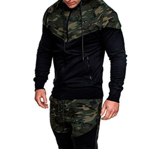 Men/'s Camo Hoodie Winter Hooded Coat Jacket GYM Zipper Sweatshirt Jumper Outwear