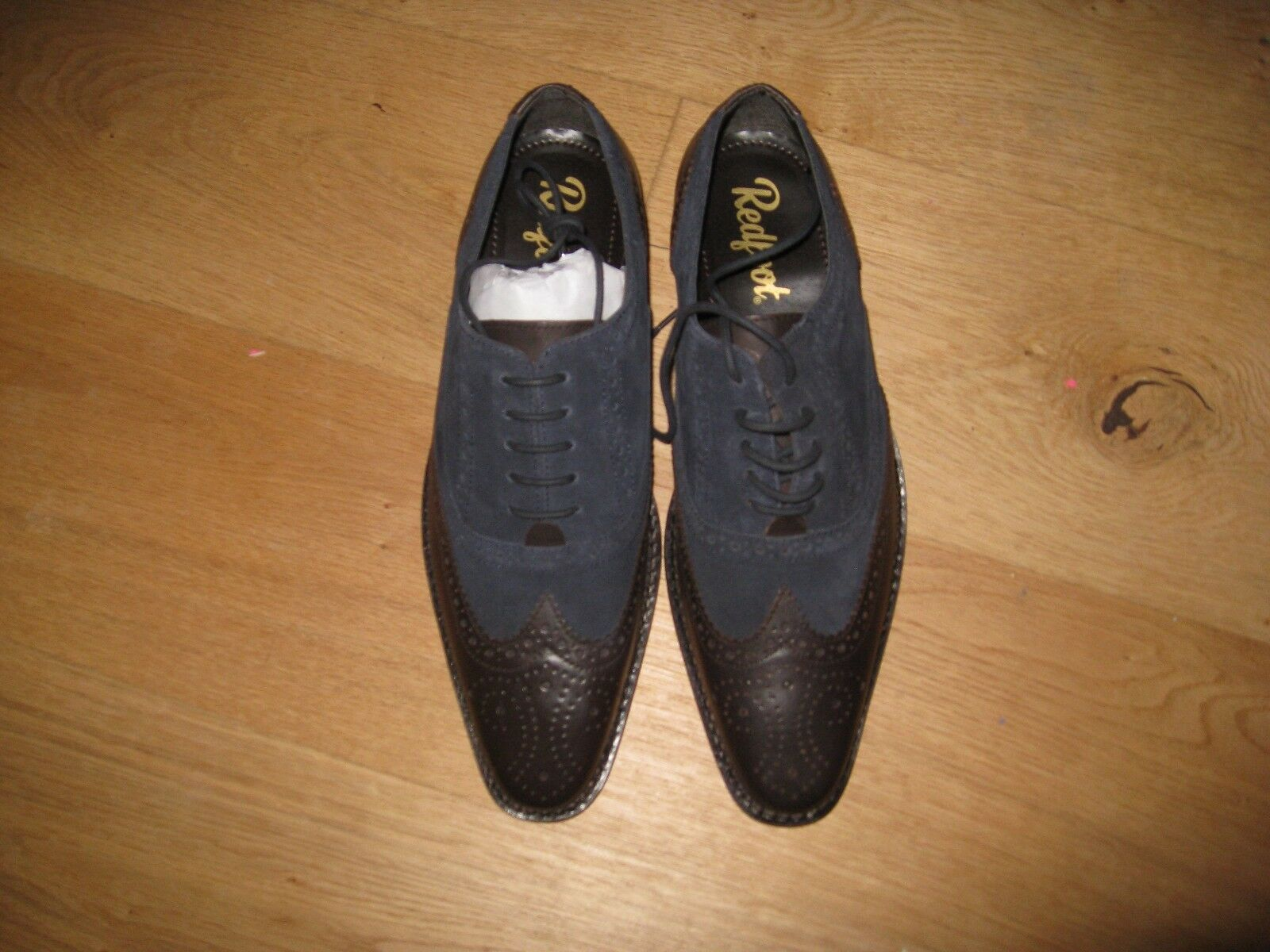 Men's Gatsby Brogue shoes (size 11) navy and brown NEW Redfoot