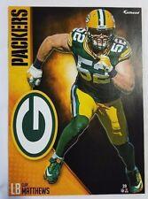 "Clay Matthews 2016 Fathead Tradeable 5"" x 7"" Green Bay Packers team logo - #39"