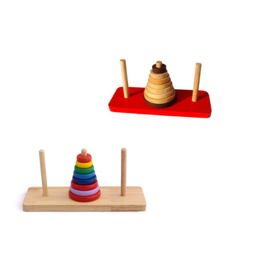 Funny Mathematical Wooden Puzzle Toy IQ Game Tower of Hanoi Brain Teaser New JKH
