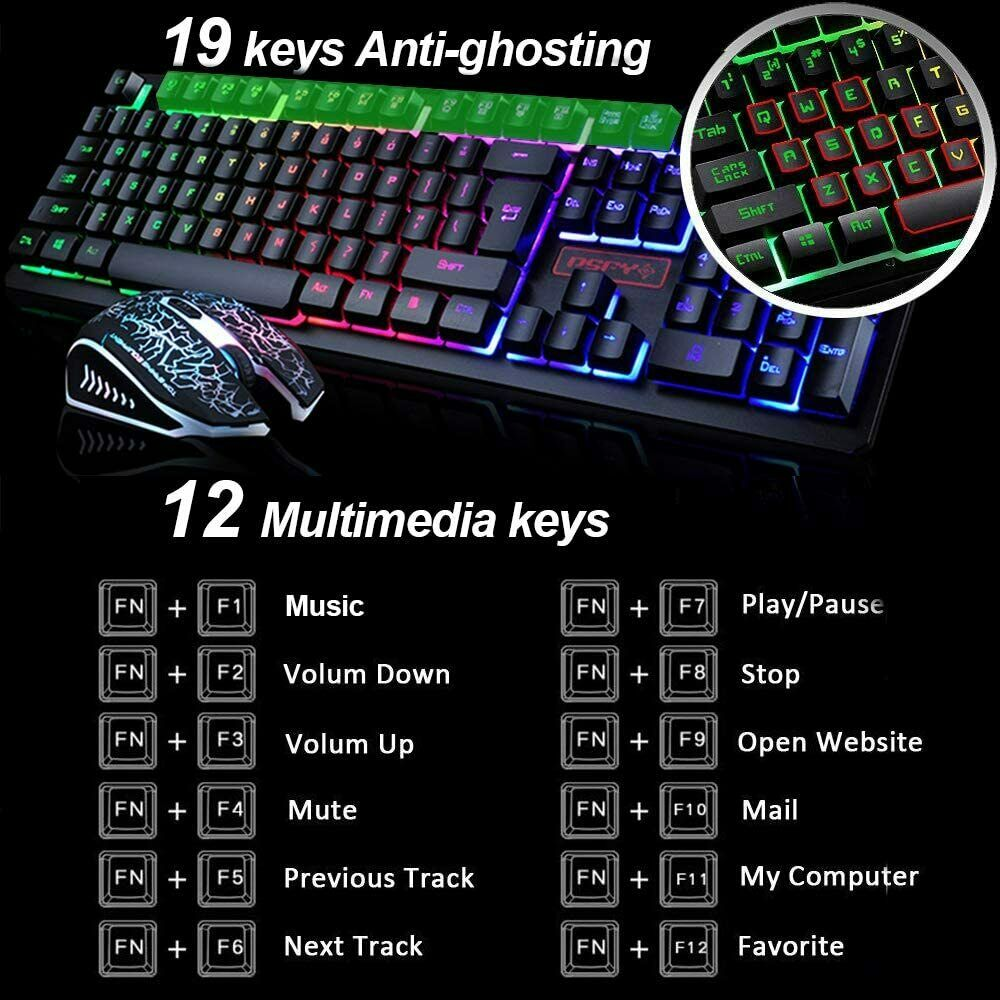 Gaming Keyboard Mouse Combo Wired Rainbow Backlit 2400DPI Mousepad for PC Laptop