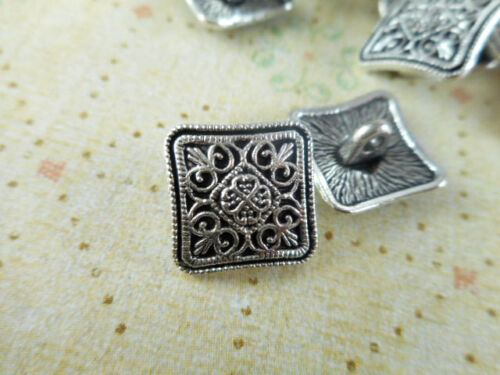 20 Silver Plated Decorative Square Buttons Charms