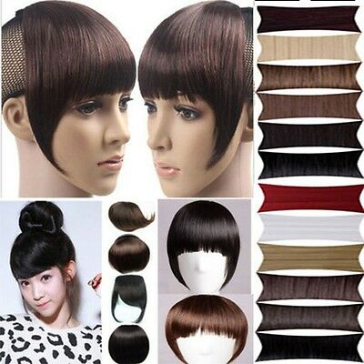 sale new clips in front bangs fringe hair extension straight curly All Colors wm