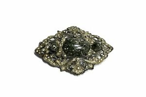 Vintage-Antique-Large-Green-Glass-Stone-Rhinestone-Pin-Brooch