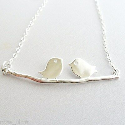 "Silver love birds on a branch necklace, 18"" chain, cute retro bird delicate gift"