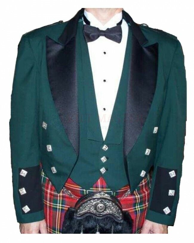 New Great Scottish Green Prince Charlie Jacket For Men