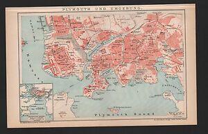 PréVenant Carte City Map 1895: Plymouth Et Environnement. Plymouth-sound.-. Fr-fr Afficher Le Titre D'origine Texture Nette