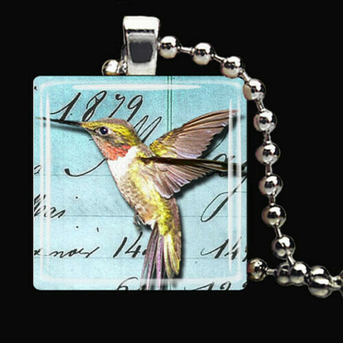 HUMMINGBIRD POETRY Summer Spring Garden Glass Tile Pendant Necklace