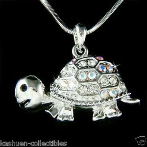 TURTLE-made-with-Swarovski-Crystal-Sea-Terrapins-Tortoise-Charm-chain-Necklace