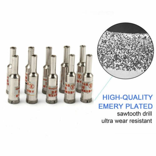 8mm Diamond Coated Drill Bit Hole Saw Rotary Tool for Glass Tile Marble 10Pcs