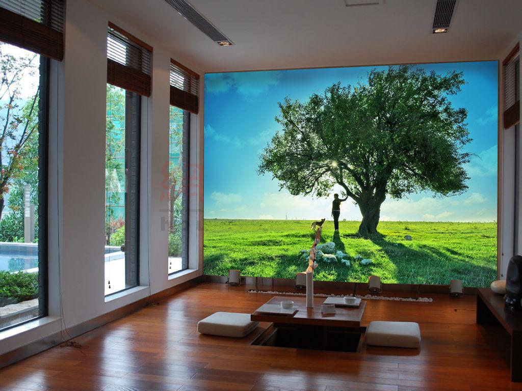 3D Arbre Prairie 51 Photo Papier Peint en Autocollant Murale Plafond Chambre Art