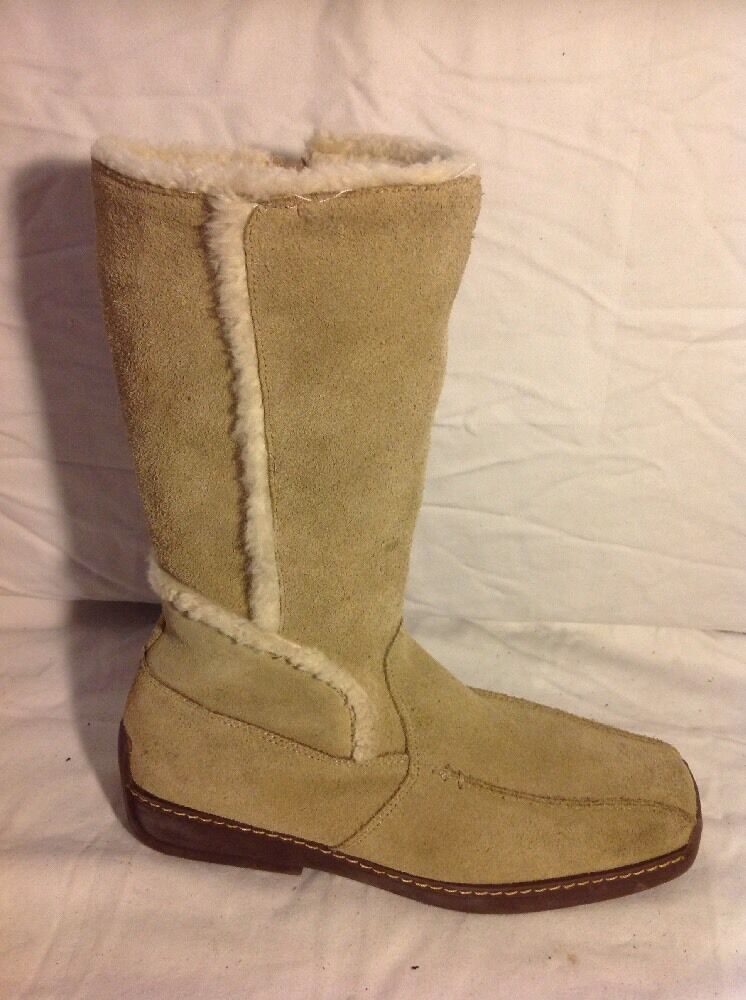 M&Co Beige Mid Calf Suede Boots Size 39