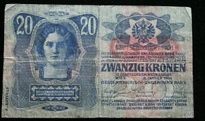 Banknote Austria-Hungary 20 Kronen 1913