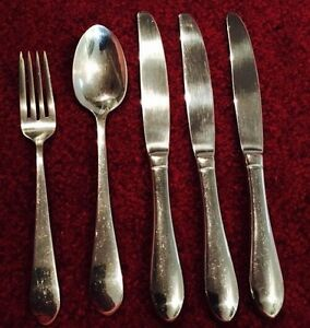 Towle BOSTON ANTIQUE Vintage Stainless Flatware Glossy Set 5 PC China Used 18/10