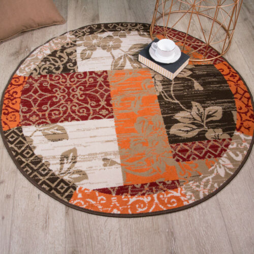 Warm Red Orange Traditional Round Patchwork Rugs Circle Circular Living Room Rug