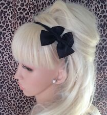 NEW BLACK GROSGRAIN RIBBON BOW HAIR BAND STRETCH ELASTIC HEADBAND GIRLS CUTE