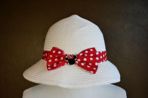 NWT Disney Parks Youth Minnie Mouse Straw Hat Beach Hat 55 cm