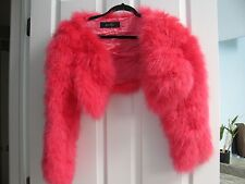Gucci Italy Hot Pink Marabou Feather Shrug/Bolero Size 40 - S