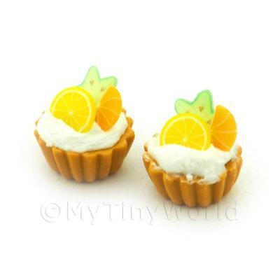 3 Dolls House Miniature Star Fruit, Lemon And Orange Tarts