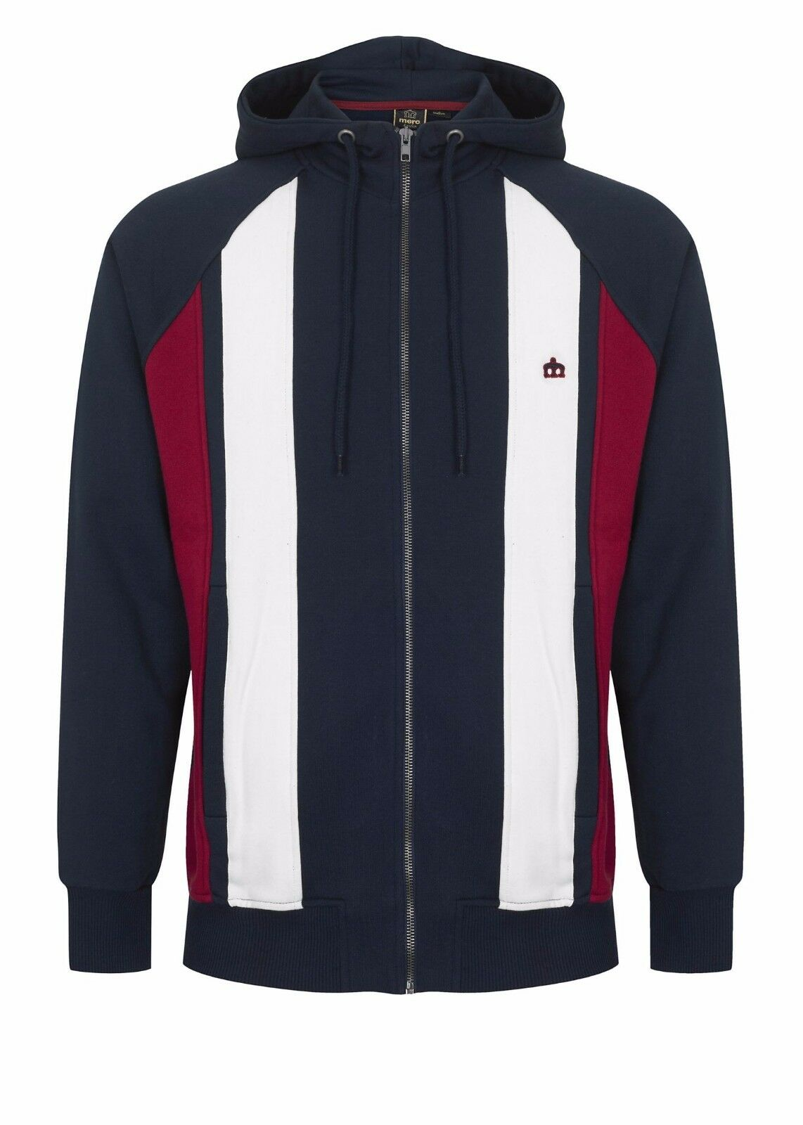 Herren Merc London Zip Up Panel Stripe Hooded Sweatshirt Top Hainton - Navy Blau