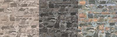 3D Orange Grey Graphite Brick Wall Effect Stone Wallpaper Slate Grey Textured