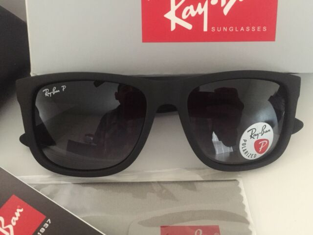 ad3ea00297 Ray-Ban Justin RB 4165 622 t3 Black Rubber Sunglasses Grey Polarized Lens  55mm