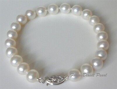 "7"" AAAA+ Cultured Freshwater 8-9mm Genuine White Pearl Bracelet 14k White Gold"