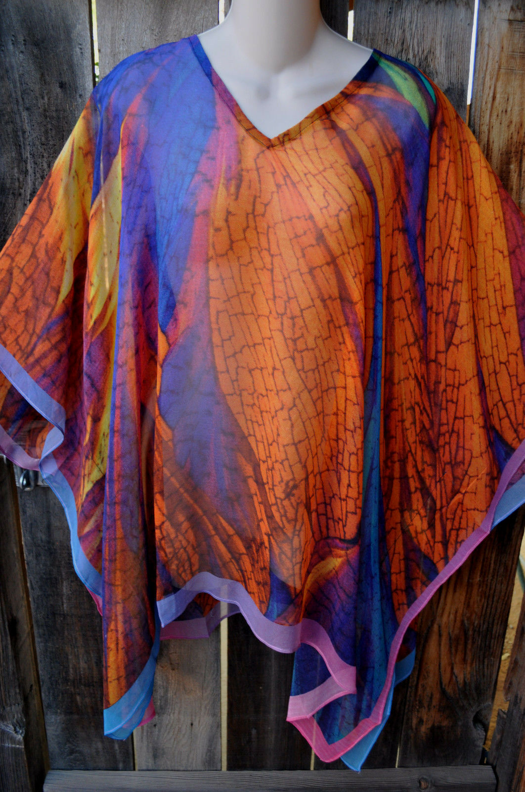 DILEMMA HAND PAINTED VITAL INSPIrot ART SILK ART TO WEAR LONG PONCHO TUNIC,OS