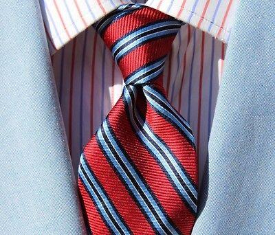 Chaps Gentleman's Red, White, & Sky Blue Striped All Silk Necktie