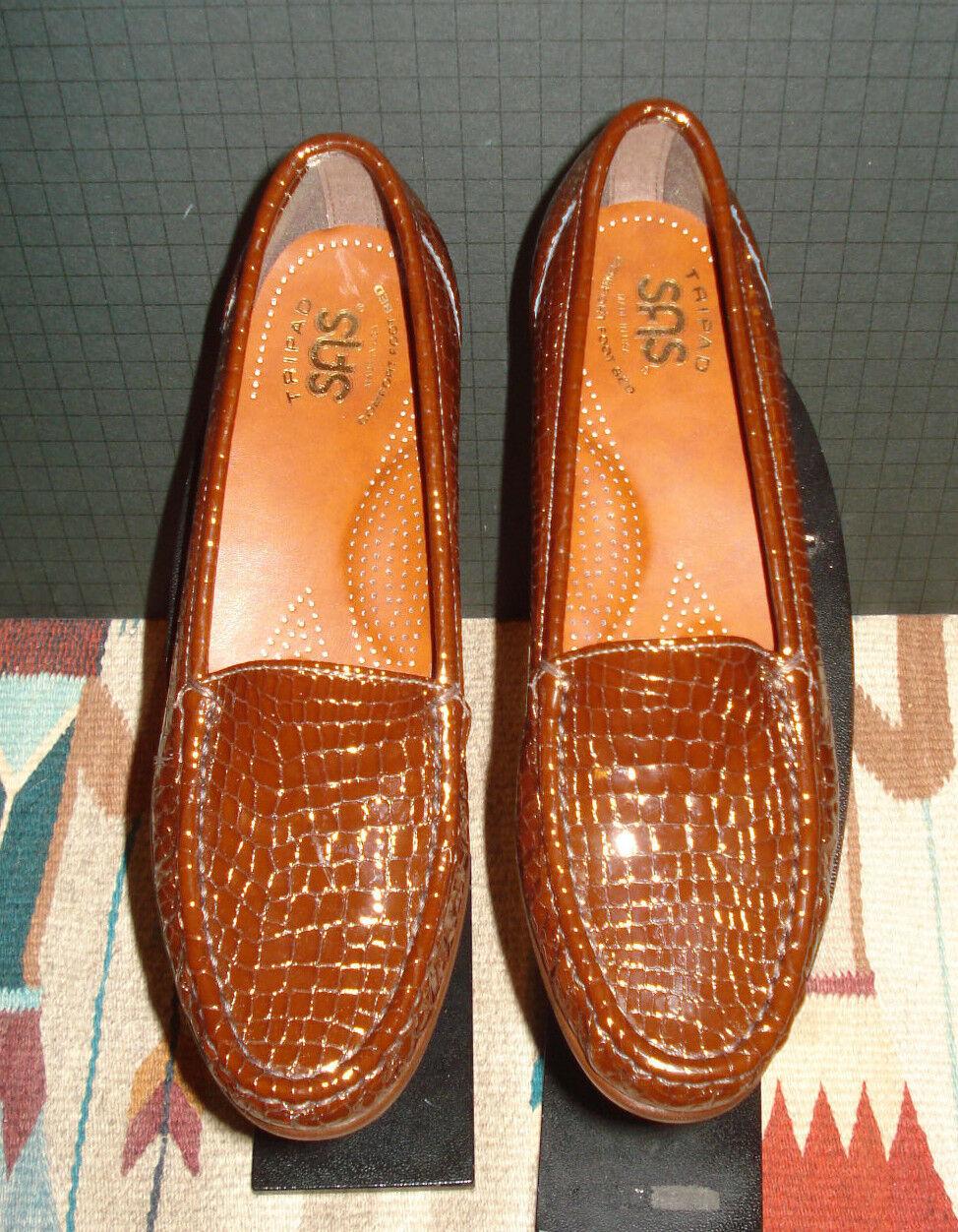 vendita economica SAS TriPad Comfort Brick Marrone Marrone Marrone Patent Leather Faux-Croc Loafer Sz. 7S UNWORN  essere molto richiesto