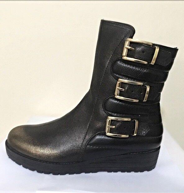 Femmes Hiver Bottes Mi-mollet en cuir MADE IN ITALY Casual MOTARD EUR 38 UK 5