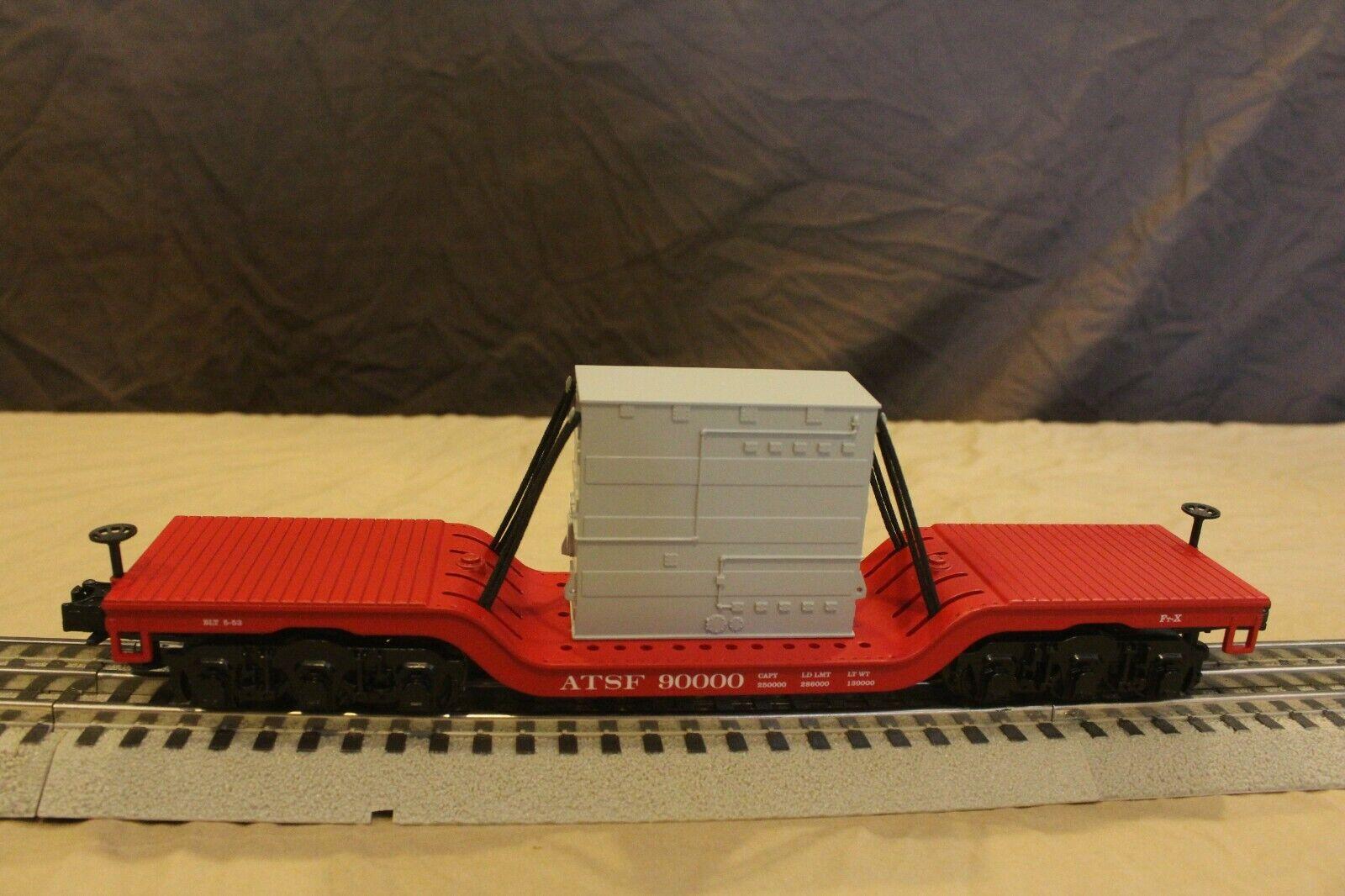 MTH O gauge  30-8301 Santa Fe depressed Flatcar with Transformer load box