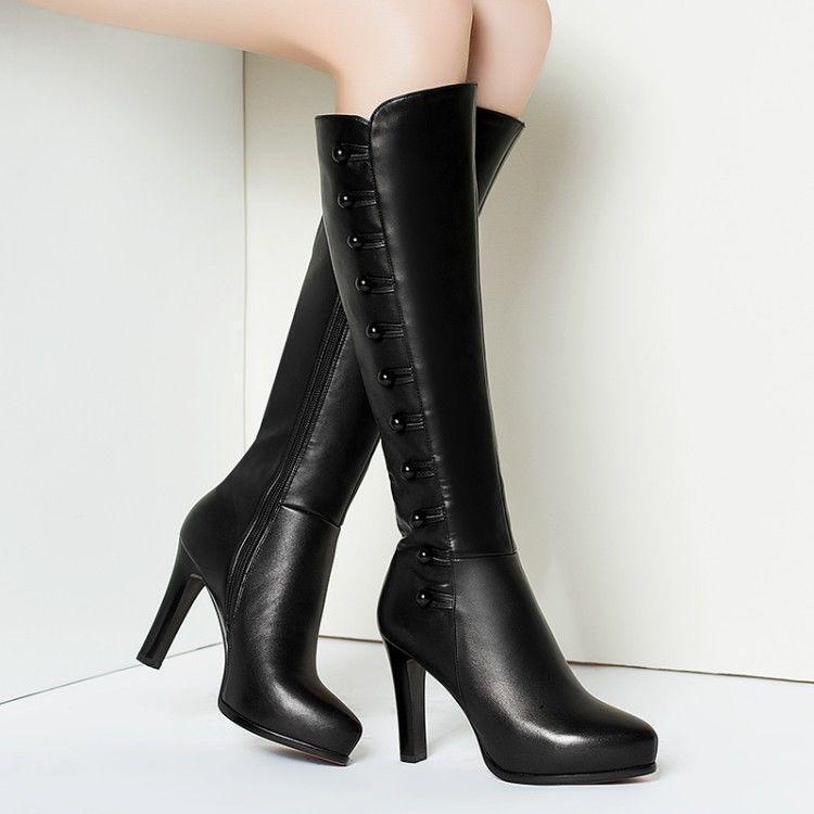 Einfarbig Damen Kniehohe Stiefel Blockabsatz High Heels Lederstiefel party Stiefel