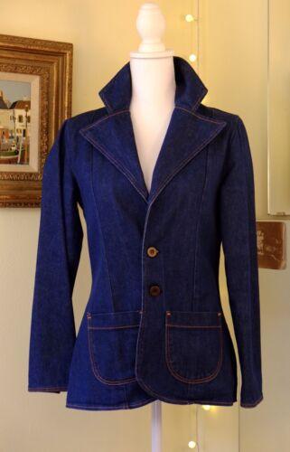 VTG 70s Wrangler Blazer Womens Medium Indigo Blue