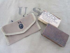 Orig US Army Verbandspäckchen Tasche + First Aid Dressing Kit Pouch Carrier Belt
