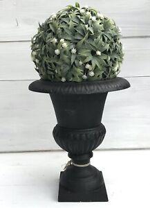 Amphore-Jardiniere-dunkelbraun-Gusseisen-Ubertopf-Pflanzschale-Vintage-H-25-cm