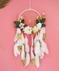 Attrape-Reve-Plumes-Dream-Catcher-Fleurs-Decoration-Bijoux-des-Lys